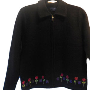 Cardigan Sweater SMALL PETITE Wool Black #s1